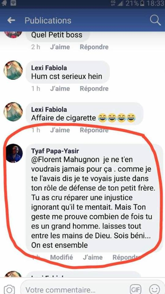 La réaction de Tyaf