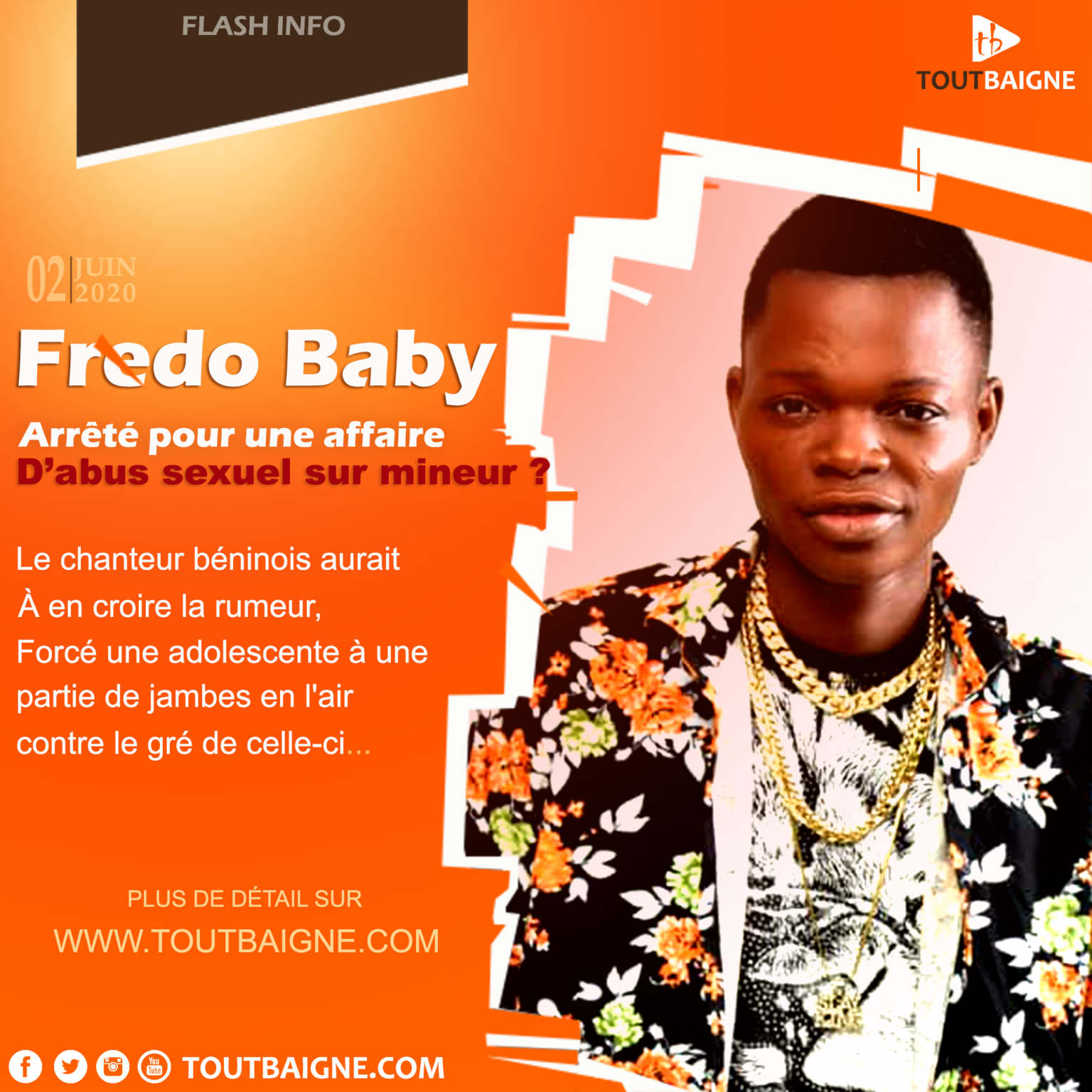 Fredo Baby arrêté pour une affaire d'abus sexuel sur mineur ?